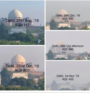 A view of Humayun's Tomb in New Delhi at various points during the air pollution season